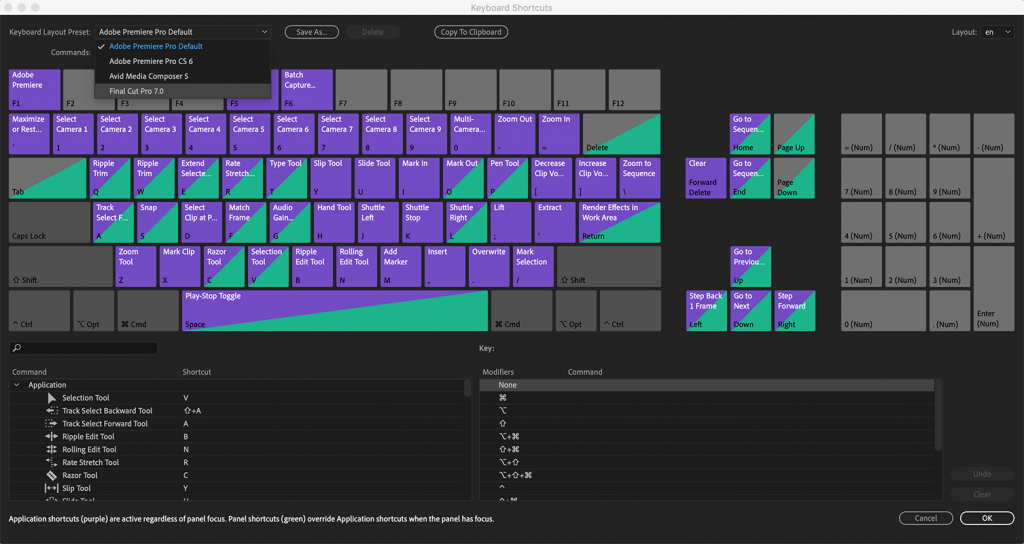 Premiere Pro CC 2019 Keyboard Shortcuts