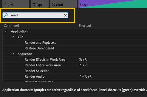 Premiere Pro keyboard shortcut search