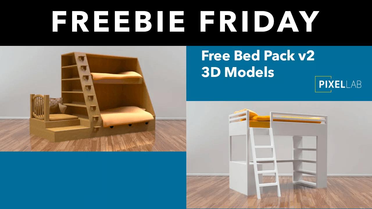 Freebie Friday: Bed Pack v2 for Cinema 4D