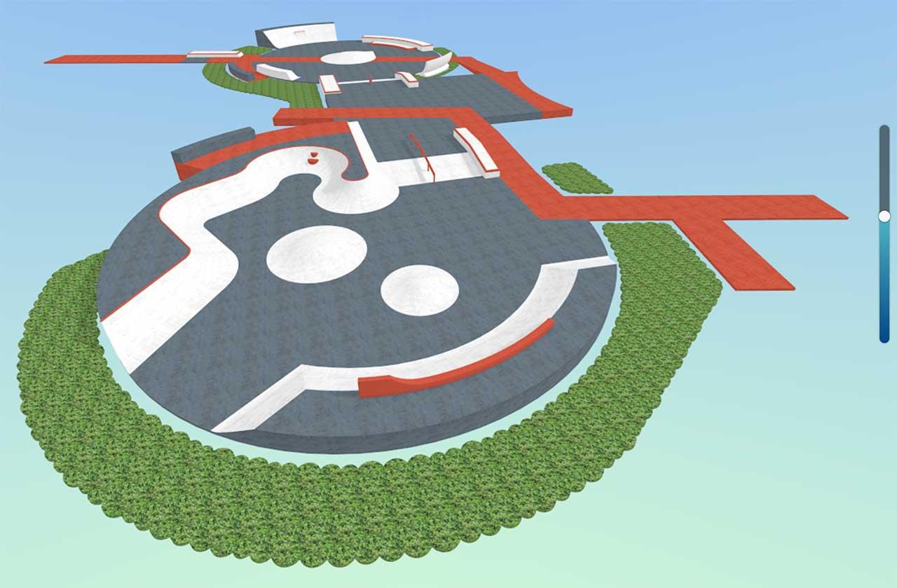 Baseplate skatepark design in Kubity Pro