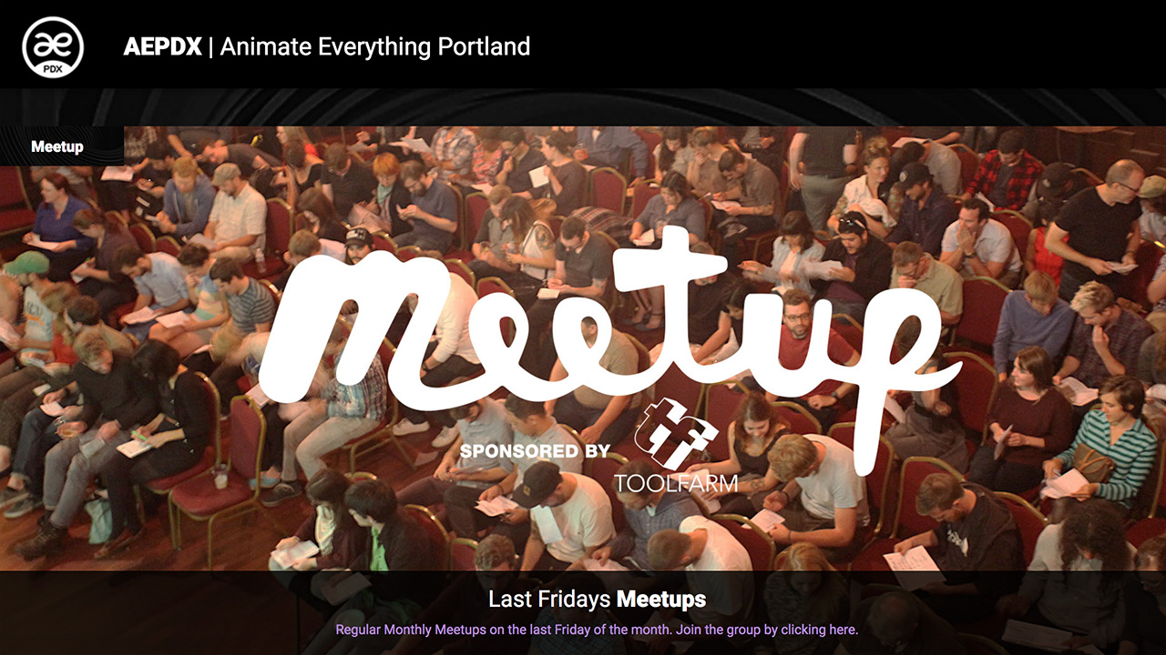 AEPDX Toolfarm is sponsoring the next Portland Motion Designers and Animators meeting.
