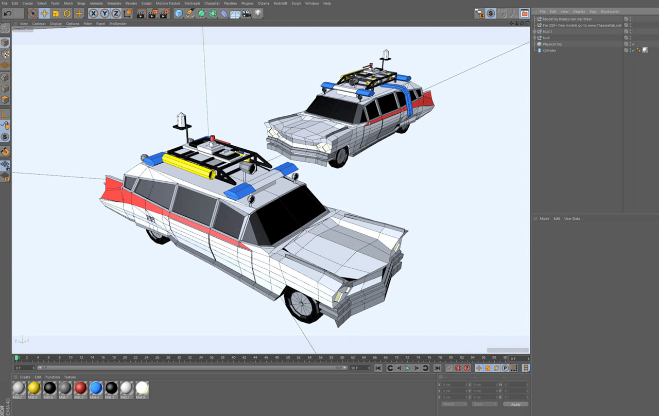 ecto-1 low poly vehicle wireframe