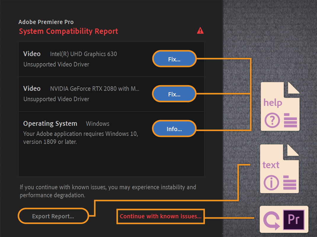 A sample System Compatibility Report flagging unsupported drivers