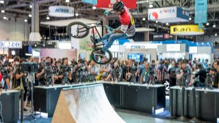 The Atomos booth had stunt bikers and skateboarders.