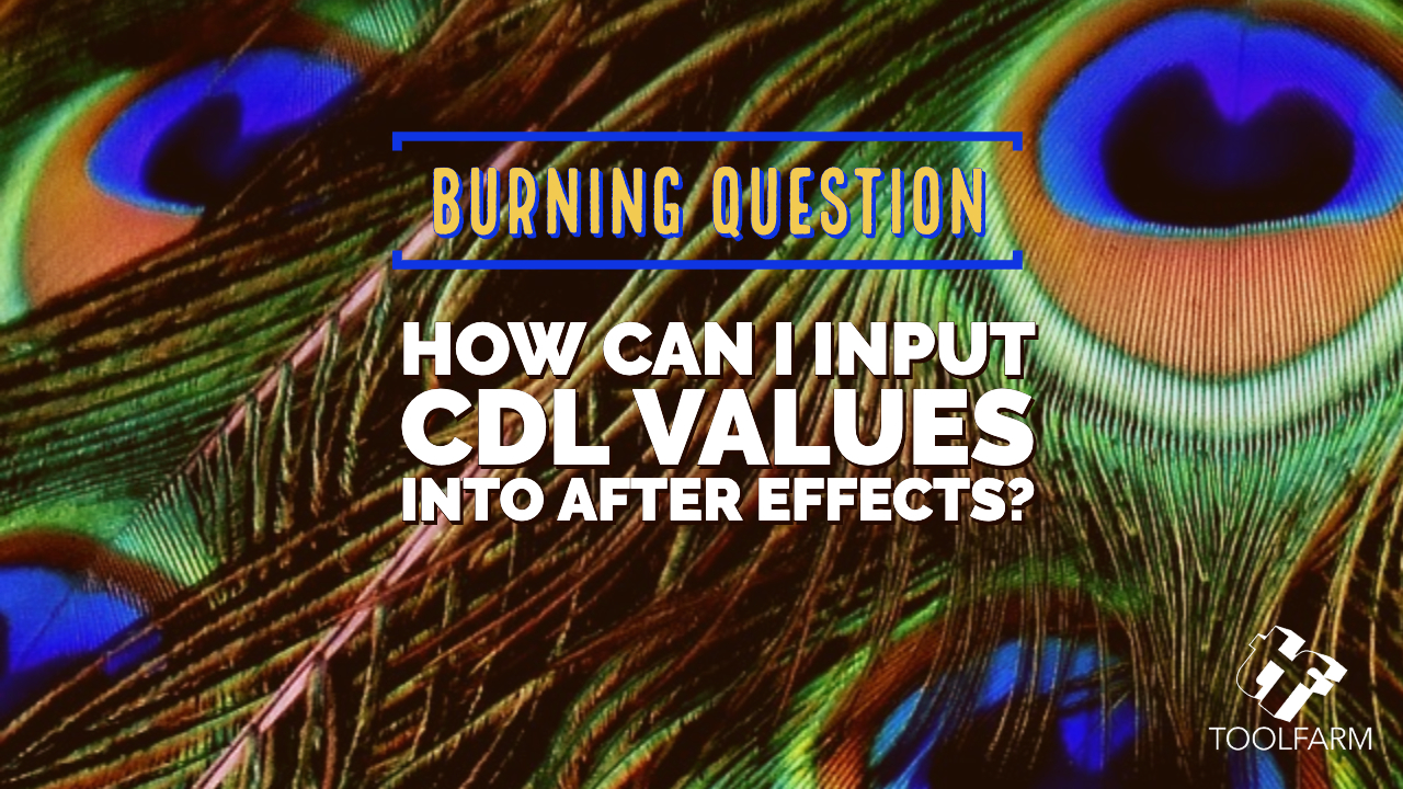 burning question: How can I input CDL Values into After Effects?