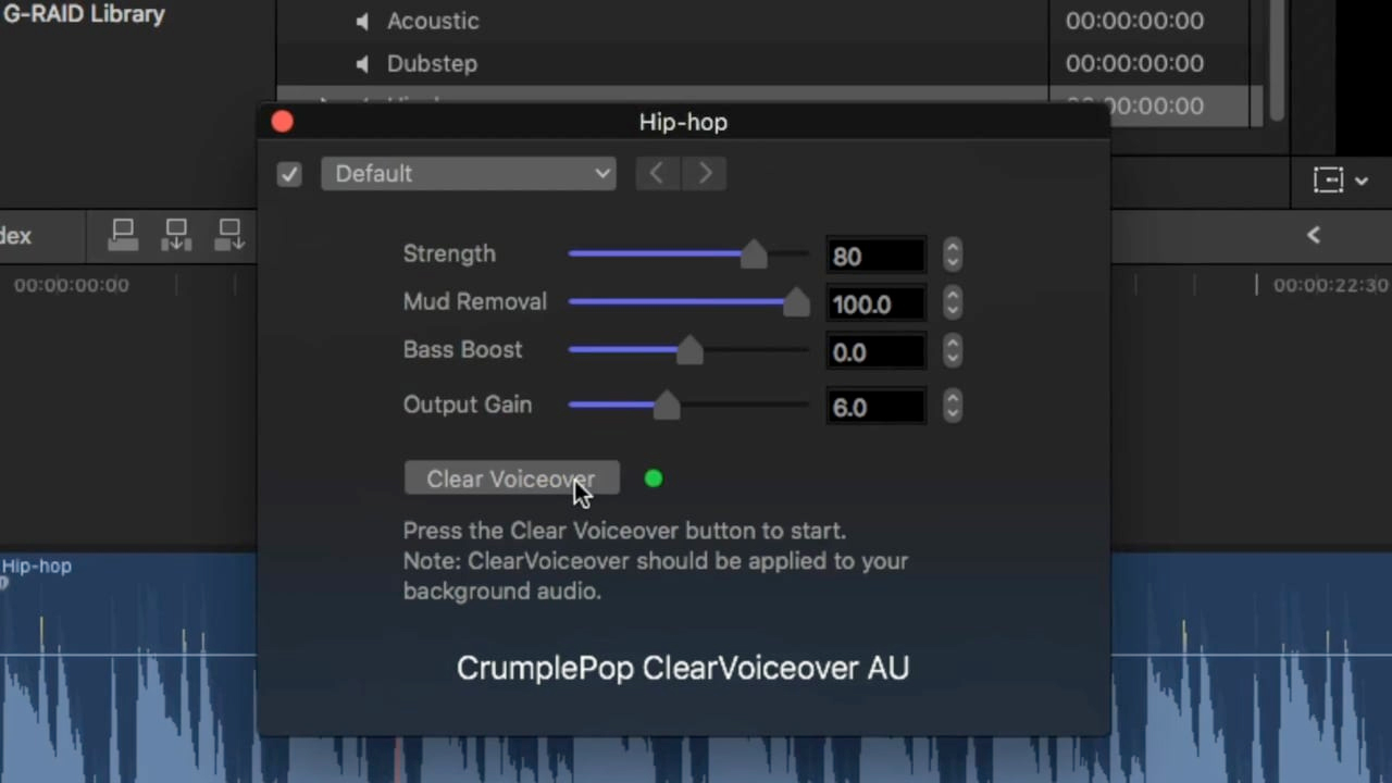 CrumplePop ClearVoiceover Audio Plugin