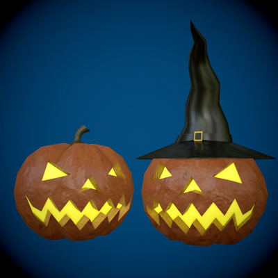 3d horor models pumpkins
