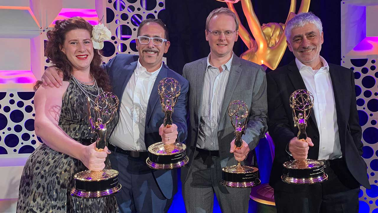 Boris FX Wins Big at Engineering Emmy Award (Boris FX Mocha Pro, pictured left to right: Mary Poplin, Ross Shain, John-Paul Smith, and President & Founder Boris Yamnitsky)
