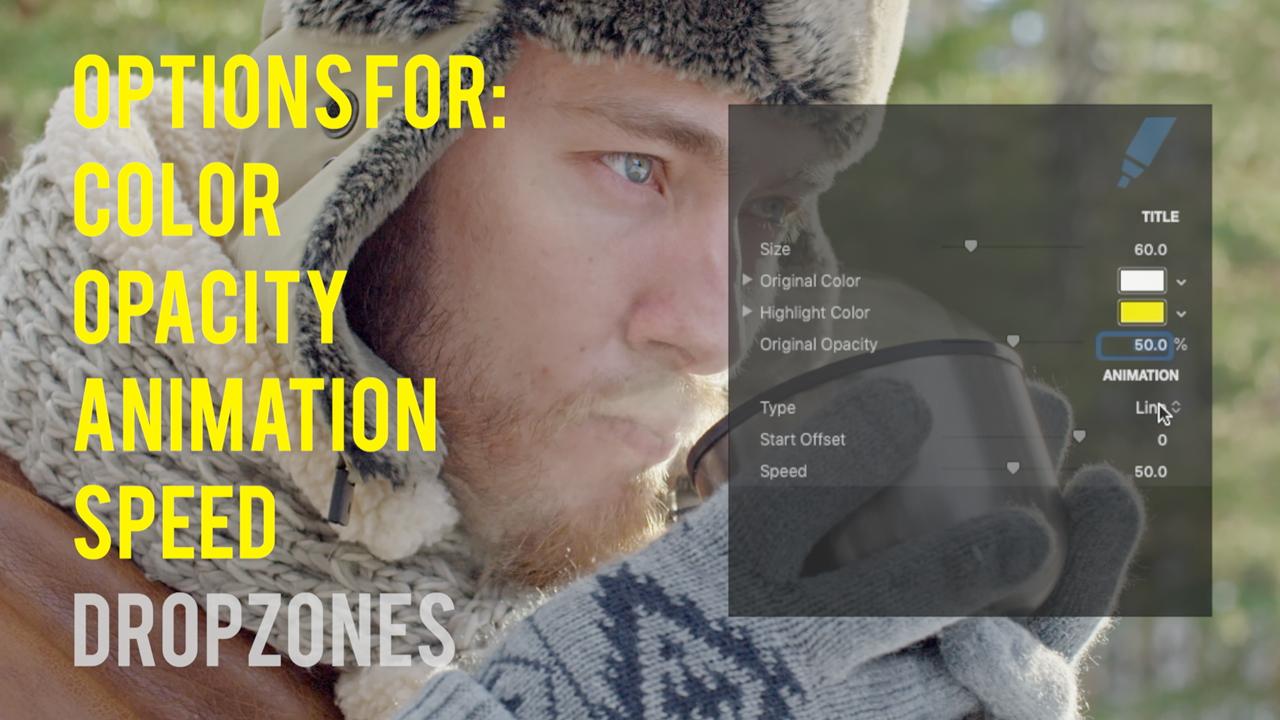 cineflare highlight text options
