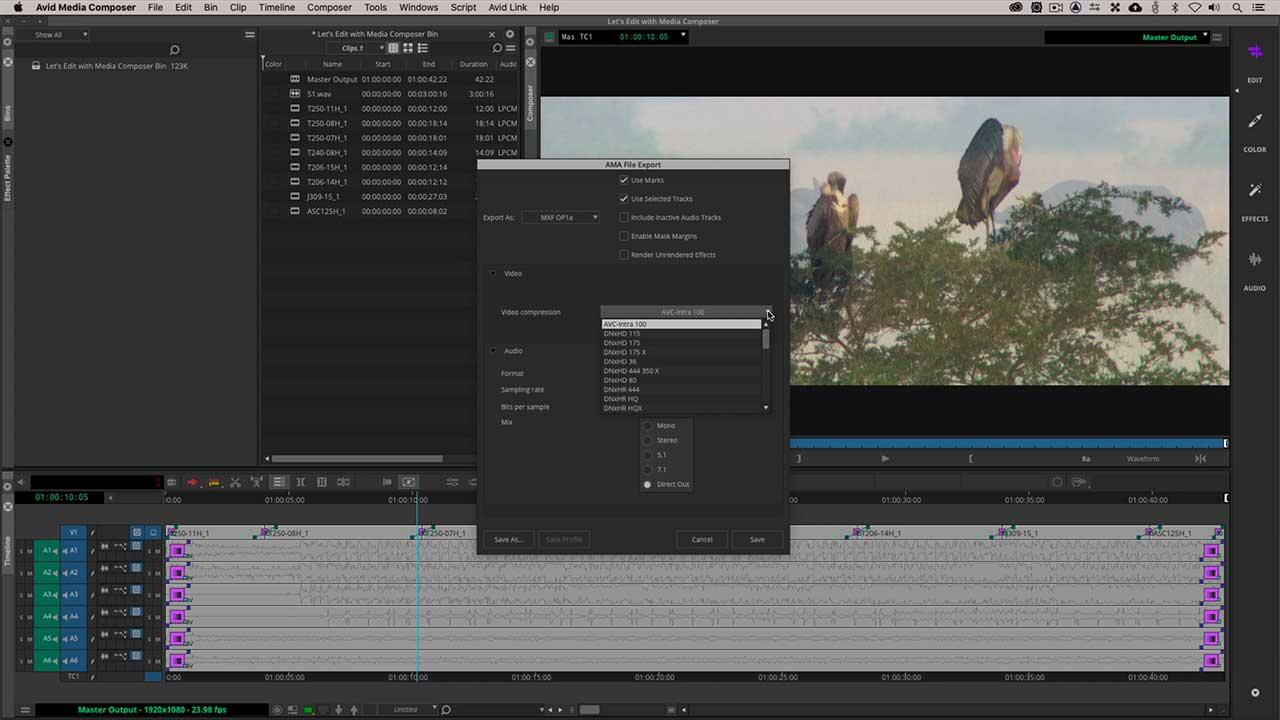 MXF Export with Avid Media Composer