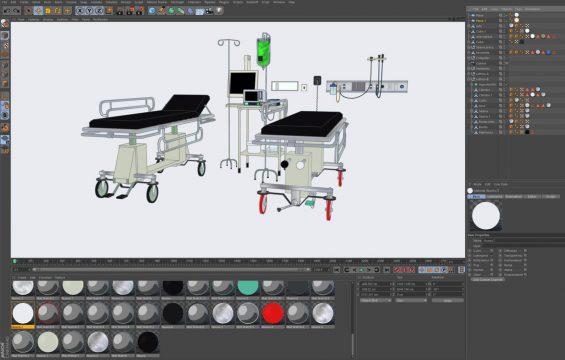Free Cinema 4D 3D Model: Medical Hospital Room Assets (Sketch and Toon)