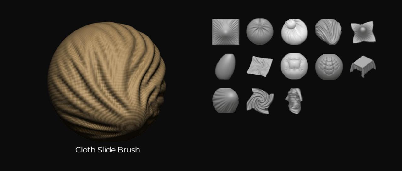 Pixologic ZBrush 2021 cloth brush sculpting