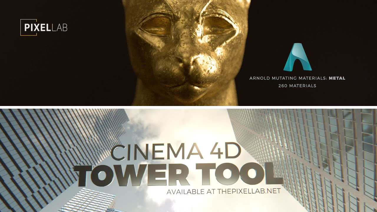 pixel lab tower tool & arnold mutating materials metal