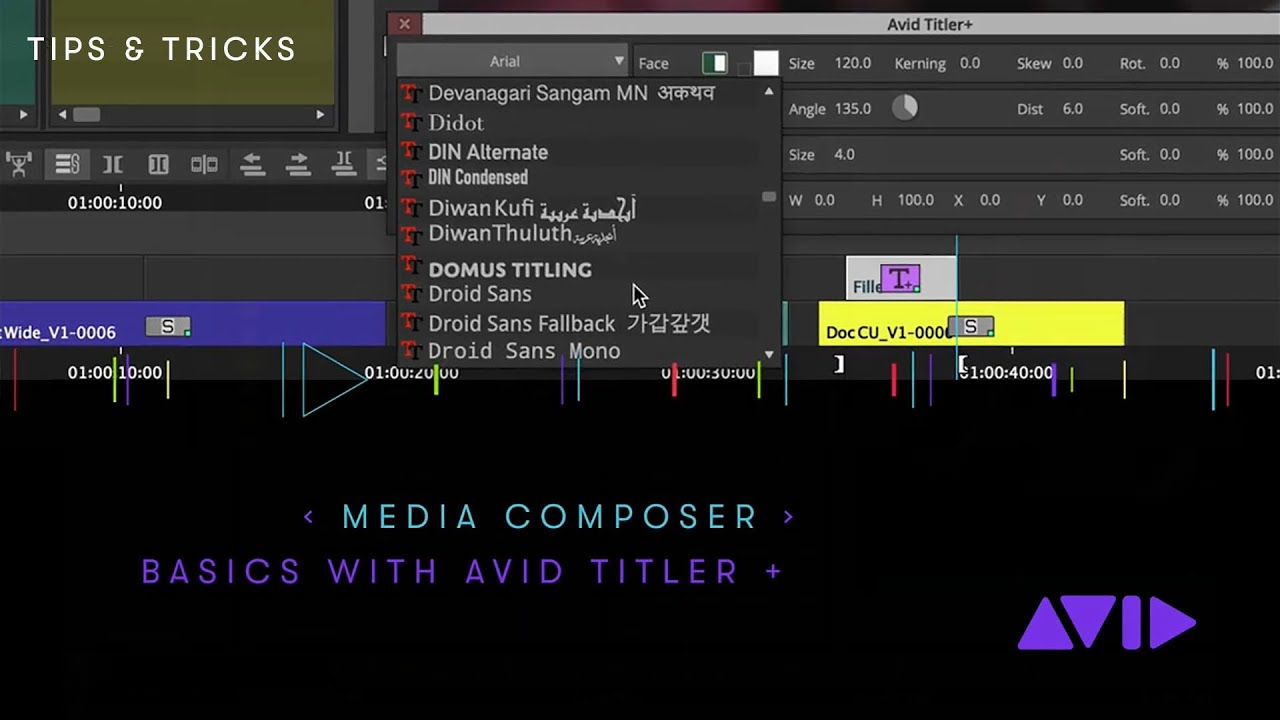 Basics with the Avid Titler + in Media Composer