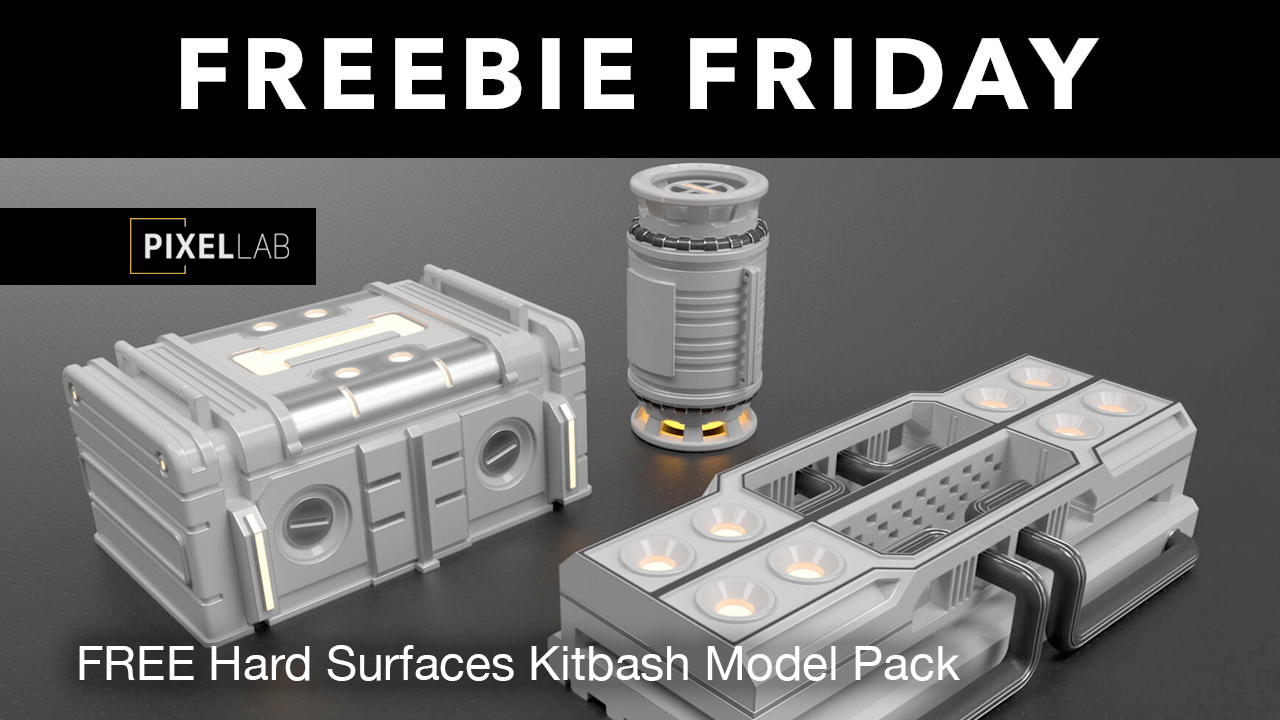 pixel lab hard surfaces kitbash freebie