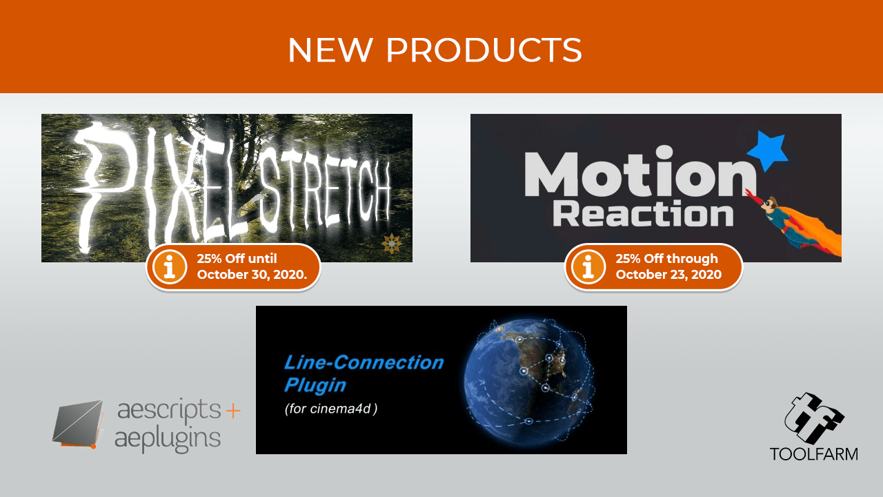 Aescripts new products october 2020 pixel stretch motion reaction line-connection for Cinema 4d