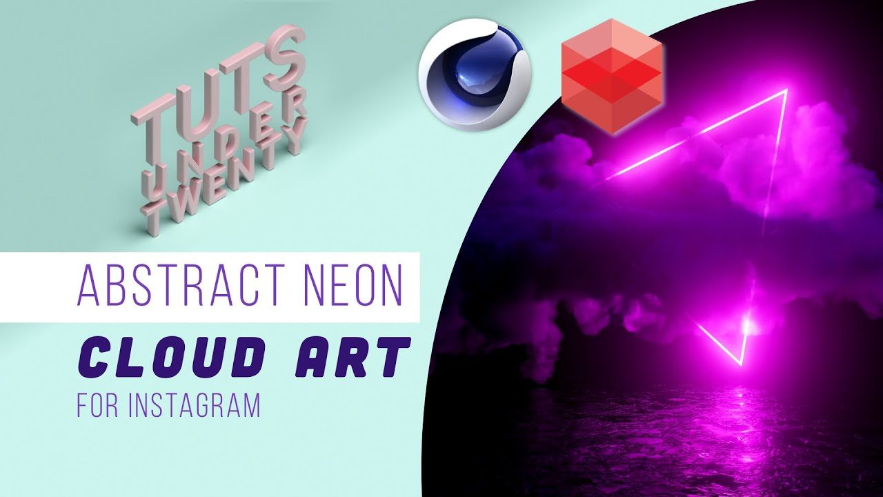 Create Abstract Neon Cloud Art - Redshift + Cinema 4D
