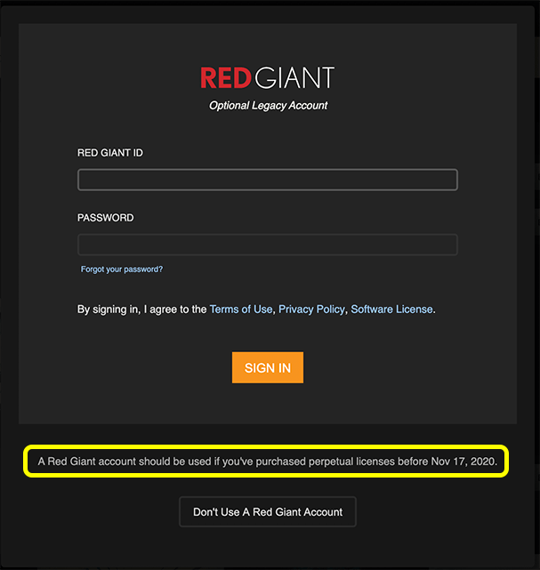 Red Giant Application Manager login