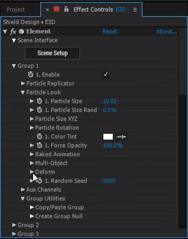 Element 3D Effect Controls