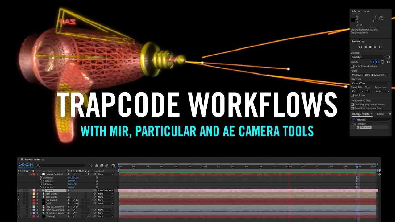 Raygun: Trapcode Workflows with Mir, Particular with New AE Camera Tools