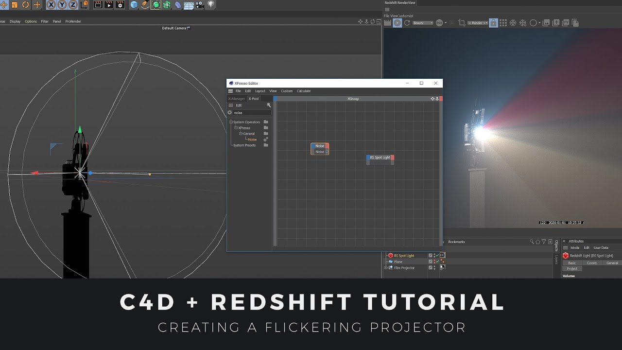 Make a Flickering Projector Spotlight with Cinema 4D & Redshift