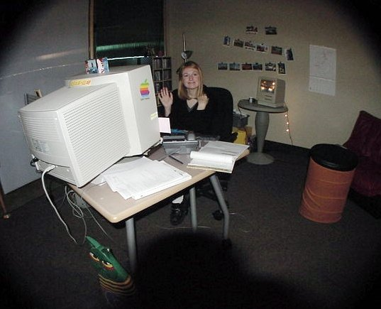 Michele with Giant Monitor