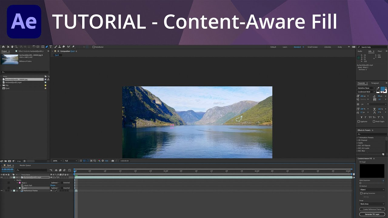 Using Content-Aware Fill to Remove Objects from Video in After Effects